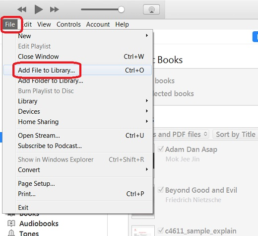 Add Books to iTunes Local Library