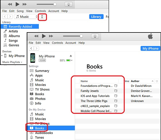 View iBooks Library from iTunes