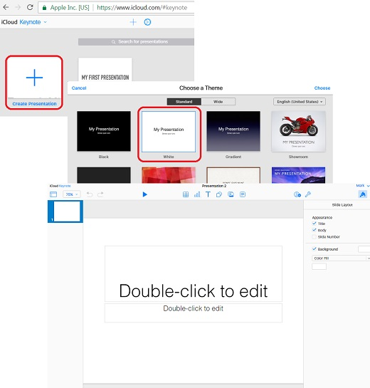 Add Keynote Document on iCloud.com with Web Browser