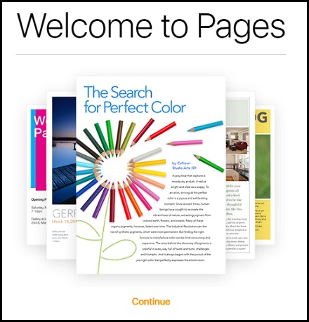 Apple iCloud Pages Welcome Screen