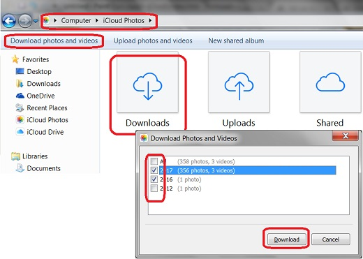 Download Photos and Videos with iCloud for Windows