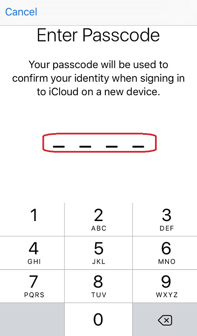Enter Passcode When Signing In to iCloud on iPhone