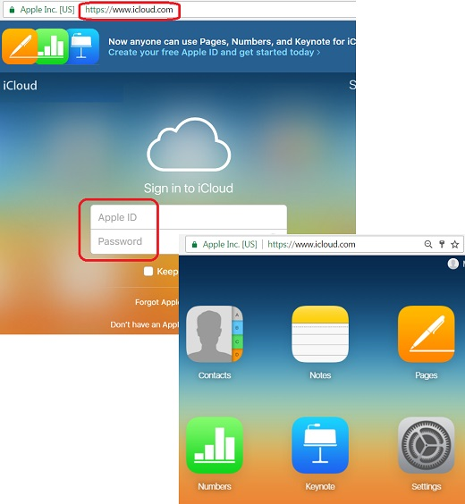 Login to iCloud.com with a Web Browser
