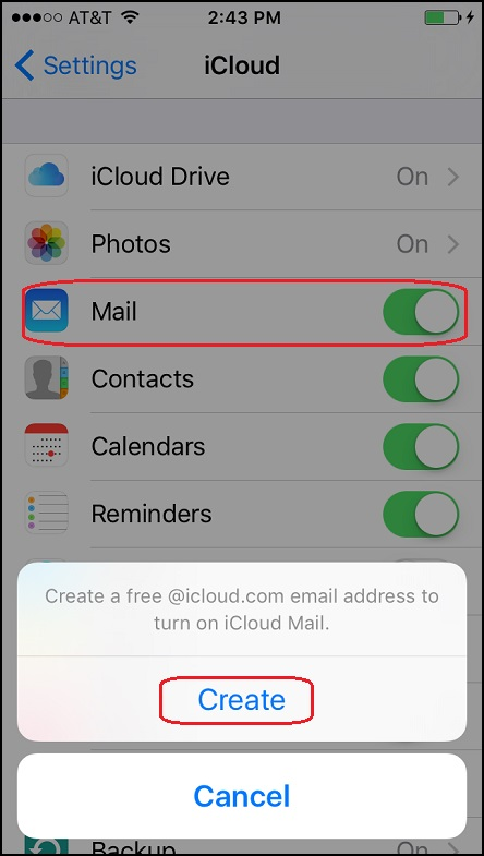 Setup iCloud Mail Box from iPhone