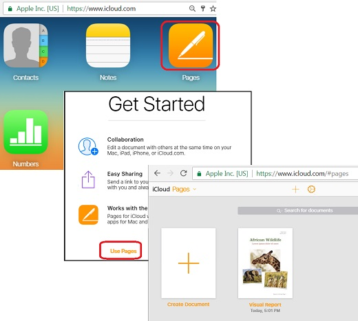 Use Pages on iCloud.com with Web Browser
