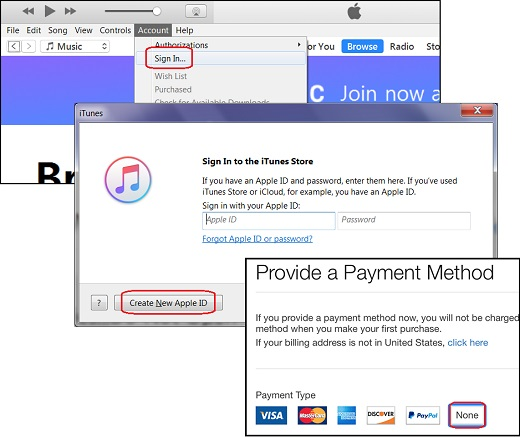 itune sign up without a credit card