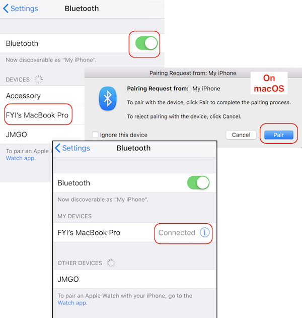 Create Bluetooth Connection from iPhone to macOS