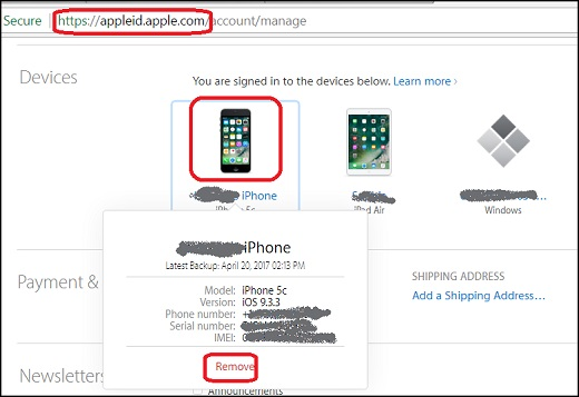 Manage Trusted Devices for Apple ID with Web Browser
