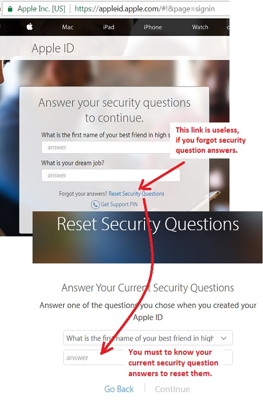Reset Security Questions Link - Misleading