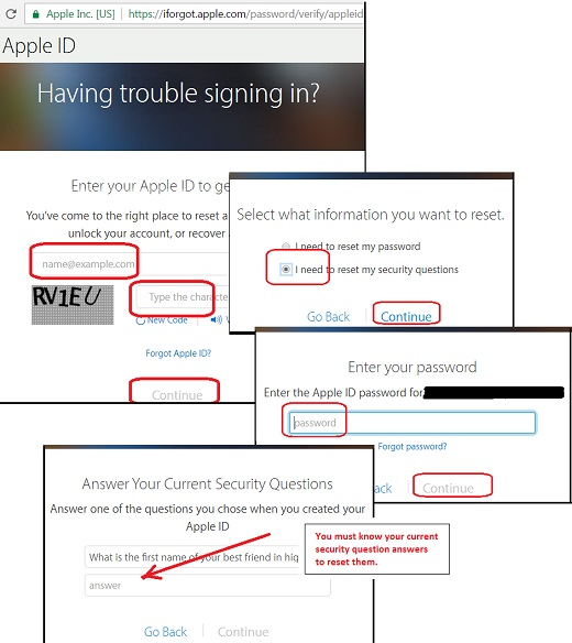 Reset Security Questions Steps on iForgot.Apple.com