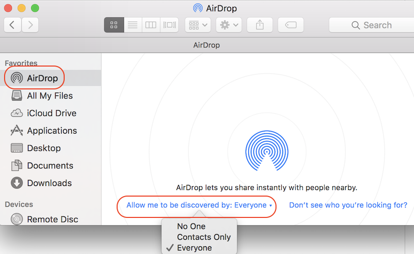 Turn On/Off AirDrop on macOS