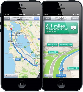 Apple Maps Navigation View on iPhone