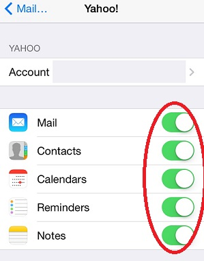 Yahoo Account Syncing Options on iPhone